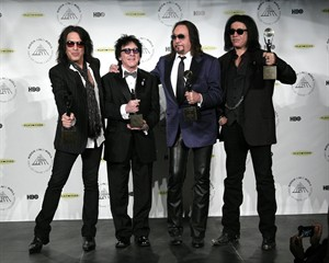 Hall of Fame Inductees Kiss original band members Paul Stanley, Peter Criss, Ace Frehley, and Gene Simmons appear in the press room at the 2014 Rock and Roll Hall of Fame Induction Ceremony on Thursday, April, 10, 2014, in New York. (Photo by Andy Kropa/Invision/AP)