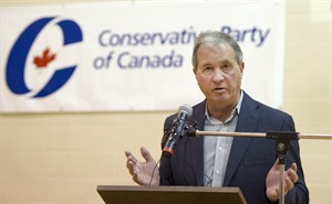 Ron Liepert speaks after defeating Rob Anders during the Calgary Signal Hill federal Conservative nomination, in Calgary on Saturday, April 12, 2014. THE CANADIAN PRESS/Larry MacDougal