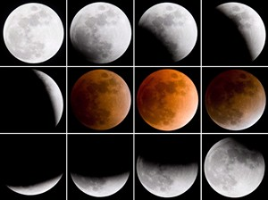 A sequence of images taken approximately every twenty minutes show the moon passing through the shadow of the earth as photographed in Toronto Wednesday Feb. 20, 2008. THE CANADIAN PRESS/Adrian Wyld
