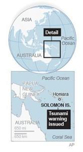 Map locates Solomon Islands; 1c x 3 inches; 46.5 mm x 76 mm;
