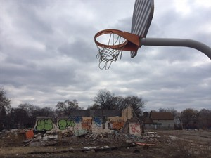An empty playground in Oakwood Heights, a struggling Detroit neighbourhood that has seen nearly 100 acres cleared out as neighbours took payouts from the Marathon Oil Corp. to leave, sits on March 20, 2014. It looks like a ghost town, and Canadian oil helped build it. The burned-out, abandoned parcels of property in a west-end Detroit neighbourhood are the reverse image of an oil boom town - a ramshackle yin to the thriving yang of Fort McMurray, Alta. THE CANADIAN PRESS/Alexander Panetta