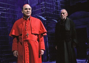 "Actor David Suche. left, is shown in this undated handout photo. British actor Suchet, star of the long-running detective series ""Agatha Christie's Poirot,'' is reprising his role as Giovanni Cardinal Benelli in the papal play ""The Last Confession"" for an international tour that kicks off Saturday in Toronto. THE CANADIAN PRESS/HO-John Haines"