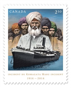 A stamp picturing the Komagata Maru incident is shown in a handout image released on Tuesday May 6, 2014. Canada Post has unveiled a new stamp to mark 100 years since a ship full of mostly Sikh passengers was turned way from Canada and sent back to India, where they were jailed or killed. THE CANADIAN PRESS/HO, Canada Post