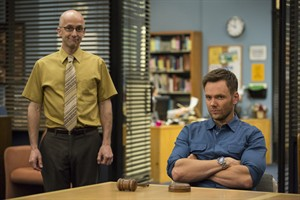 "This photo released by NVC shows, Jim Rash, left, as Dean Pelton, and Joel McHale as Jeff Winger, in a scene from season 5 of ""Community."" Yahoo says that it's giving the sitcom ""Community"" a sixth season online. Yahoo and Sony Picture Television announced Monday, June 30, 2014, that the show's creator, Dan Harmon, will serve as an executive producer for 13 new episodes.(AP Photo/NBC, Justin Lubin)"