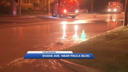 Water main break floods Evans Ave.