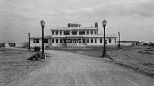 May 29, 1939: Airport terminal building nears completion. Aircraft were already using the runway by this time. The first plane landed at the Island Airport February 4, 1939, piloted by H.F. McLean of Montreal. The first commercial passenger flight was a charter carrying Tommy Dorsey and his swing band for a two-day  engagement at the Canadian National Exhibition on September 8, 1939.  HANDOUT/Toronto Port Authority