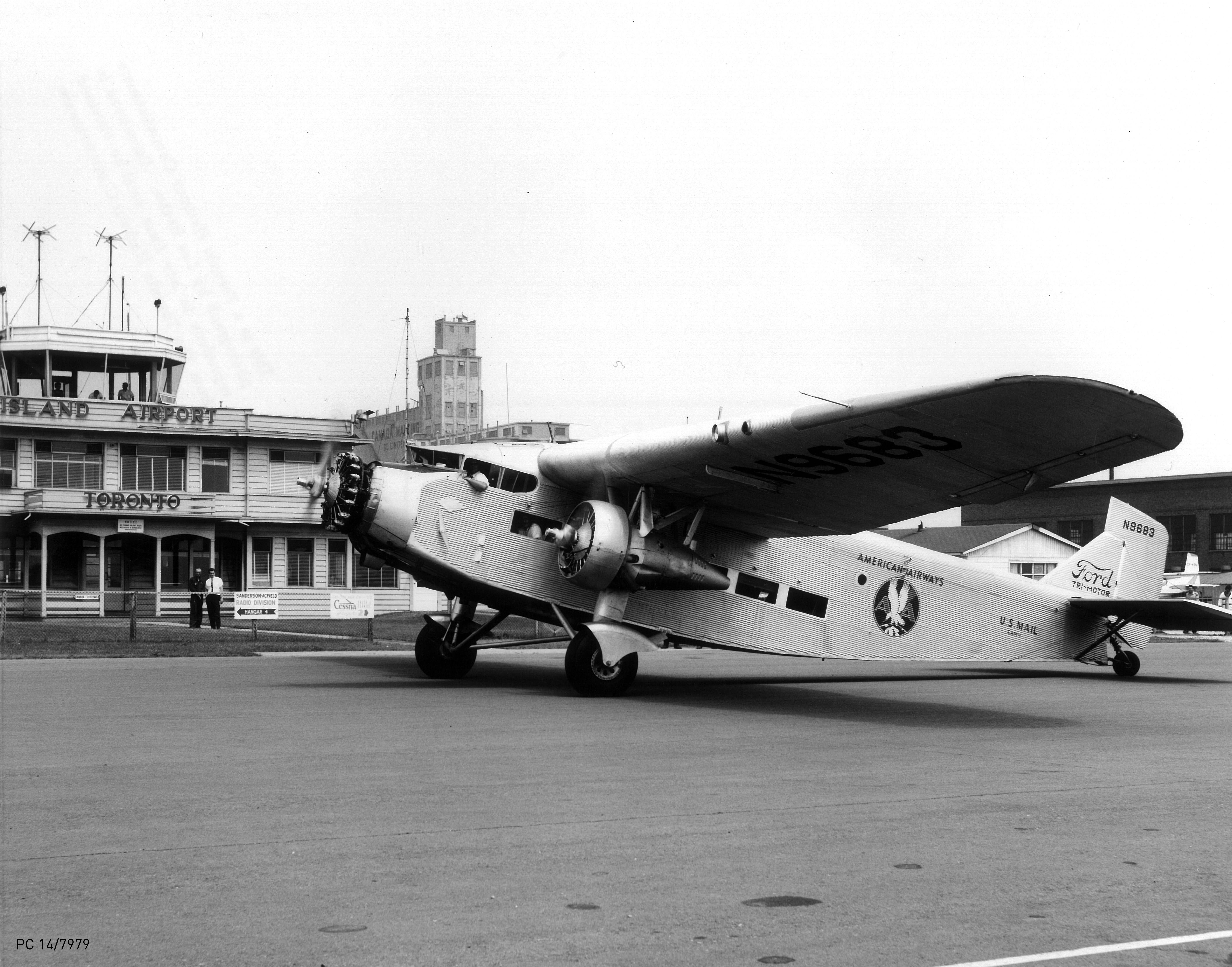 July 1, 1964: American Airways U.S. Mail Plane-Vintage Ford Tri-motor warms up its engines in front of the Island Airport Terminal Building (Terminal A). This particular aircraft was built in 1929, and is now preserved as a static (non-flying) display in the Smithsonian Air and Space Institute in Washington, D.C. HANDOUT/Toronto Port Authority