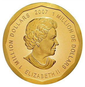 This undated photo shows the world's largest gold coin, the 2007 $1-million Canadian Maple Leaf coin featuring an image of Britain's Queen Elizabeth II. Having dumped the lowly penny, the Royal Canadian Mint is planning to create two high-value coins that won't appear in any change handed out at the local Tim Hortons. A recent cabinet order authorizes the mint to produce two coins with face values of $1,000 and $1,250, destined for collectors rather than pockets or purses. THE CANADIAN PRESS/AP Photo/Dorotheum Vienna, handout) ** EDITORIAL USE ONLY - NO SALES - NO ARCHIVES **