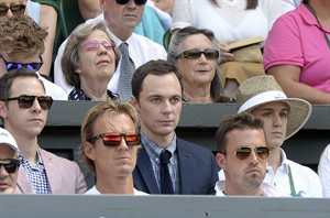 U.S. actor Jim Parsons, centre, watches from the players box duirng the Wimbledon women's semifinal match between Canada's Eugenie Bouchard and Romania's Simona Halep at the All England Lawn Tennis Championships in Wimbledon, London, Thursday July 3, 2014. (AP Photo/Anthony Devlin/PA) UNITED KINGDOM OUT NO SALES NO ARCHIVE