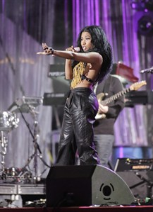 Nicki Minaj performs at the Wawa Welcome America Jam on the Parkway, Friday, July 4, 2014, in Philadelphia. (AP Photo/Philadelphia Daily News, Elizabeth Robertson)