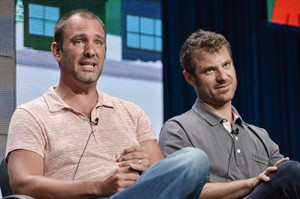 "This July 12, 2014 photo shows writer/creators Trey Parker, left, and Matt Stone participating in the ""South Park'"" segment of the the Hulu 2014 Summer TCA on Saturday, July 12, 2014, in Beverly Hills, Calif. (Photo by Richard Shotwell/Invision/AP)"