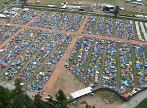 An aerial handout photo shows rows of tents Pemberton Music Festival in Pemberton, B.C. THE CANADIAN PRESS/HO, RCMP-Integrated Homicide Investigation Team