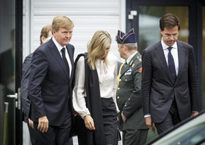"Dutch King Willem-Alexander, left, Queen Maxima, center, and Dutch Prime Minister Mark Rutte, far right, leave a meeting in Nieuwegein, near the central city of Utrecht, Netherlands, Monday, July 21, 2014. Relatives of Dutch victims killed in the downing of Malaysia Airlines Flight 17 were meeting Monday afternoon with their king, queen and prime minister amid growing anger at the treatment of their loved ones' bodies by pro-Russian rebels in Ukraine. In an unusual move that underscored the severity of the national trauma, a somber King Willem-Alexander gave a brief televised address to his country after meeting grieving relatives. ""This terrible disaster has left a deep wound in our society,"" the king said. ""The scar will be visible and tangible for years to come."" (AP Photo/Phil Nijhuis)"