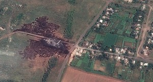 A satellite image shows the primary crash site, at left, of Malaysia Airlines Flight 17 located near Hrabove, eastern Ukraine, on Sunday. THE CANADIAN PRESS/AP, Airbus DS/AllSource Analysis