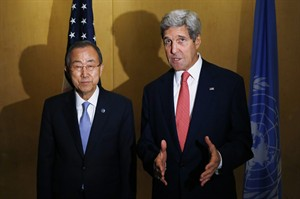 Secretary of State John Kerry and U.N. Secretary General Ban Ki-Moon make statements to reporters in Cairo, Egypt, Monday, July 21, 2014. Kerry has returned to the Middle East as the Obama administration attempts to bolster regional efforts to reach a cease fire and sharpens its criticism of Hamas in its conflict with Israel. (AP Photo/Charles Dharapak, Pool)
