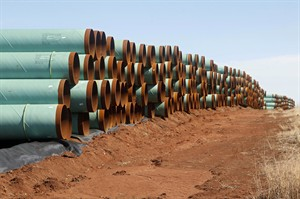 Pipes for the Keystone pipeline are stacked in a field near Ripley, Okla.in a file photo. THE CANADIAN PRESS/AP, Sue Ogrocki
