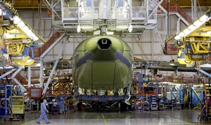 A Boeing C-17 Globemaster III is being assembled at the Boeing assembly facility in Long Beach, Calif. in a July 31, 2012 photo.THE CANADIAN PRESS/AP, Damian Dovarganes