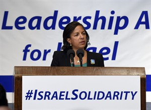 """National Security Adviser Susan Rice speaks at the """"National Leadership Assembly for Israel"""" convened by the Conference of Presidents of Major American Jewish Organizations in Washington, Monday, July 28, 2014. (AP Photo/Susan Walsh)"""