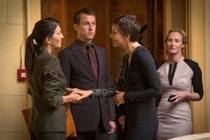 "This image released by SundanceTV shows, from left, Eve Best, Tobias Menzies, Maggie Gyllenhaal and Genevieve O'Reilly in a scene from ""The Honorable Woman,"" an eight-hour miniseries premiering Thursday at 10 p.m. EDT. The series is a virtuoso effort by Hugo Blick, who both wrote and directed it. (AP Photo/SundanceTV, Robert Viglasky)"