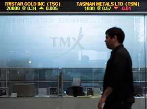 The Toronto Stock Exchange Broadcast Centre is shown on June 28, 2013. THE CANADIAN PRESS/Aaron Vincent Elkaim