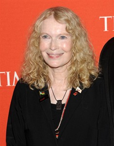 """FILE - This April 24, 2012 file photo shows actress Mia Farrow and son Isaiah Farrow attend the TIME 100 gala, celebrating the 100 most influential people in the world, at the Frederick P. Rose Hall in New York. Farrow will star Brian Dennehy in """"Love Letters"""" a two-person work, comprised of letters exchanged over a lifetime between friends who grew up together Dennehy and Farrow will star from Sept. 13 to Oct. 10. Then the cast will change to Carol Burnett and Dennehy from Oct. 11 to Nov. 7, then Alan Alda and Candice Bergen from Nov. 8 to Dec. 5, then Stacy Keach and Diana Rigg from Dec. 6 to Jan. 9 and finally Anjelica Huston andf Martin Sheen from Jan. 10 to Feb. 1. The show will run at the Nederlander Theatre under the direction of Gregory Mosher. (AP Photo/Evan Agostini, File)"""