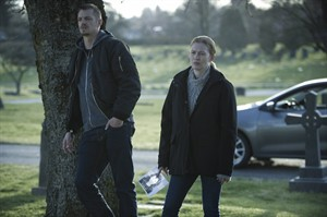 "Joel Kinnaman (left) and Mireille Enos (right) are pictured in a scene from Netflix's ""The Killing"" Season 4. THE CANADIAN PRESS/ HO, Netflix - Carole Segal"