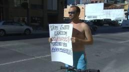 Shirtless protest against Mayor Ford outside Toronto radio station