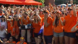 Dutch soccer fans celebrate World Cup advance