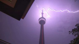 Lightning strikes the CN Tower Monday