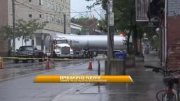 Stalled truck blocks roadway