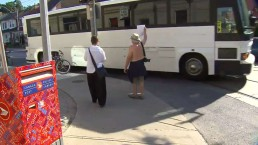 RAW VIDEO: Mayor Ford greeted by 2 protesters at transit announcement