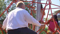 Raw video: Mayor Ford climbs new playground equipment in Toronto