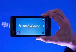 A BlackBerry Z10 is shown during a launch on Jan. 30, 2013 in Toronto. THE CANADIAN PRESS/Nathan Denette, File