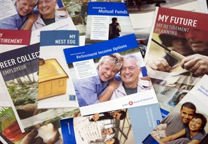 Brochures offering various retirement savings options are pictured February 3, 2012 in Montreal. THE CANADIAN PRESS/Ryan Remiorz