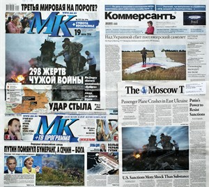 """CORRECTS DATE TO JULY 20, FILE - This July 20, 2014 file photo, shows a combination of images of Russian nationwide weekend dailies' front pages on downed Malaysia Airlines Flight 17 in Moscow Russia, some of them reading """"298 Victims of Someone Else's War,"""" and """"Kick From Behind."""" An assassination attempt against Russian President Vladimir Putin. A desperate ploy to draw the West into the battle for Ukraine's east. A botched mission to commit mass-murder against Russian citizens. Russian news consumers are getting plenty of explanations for the downing of Malaysian Airlines Flight 17, which killed 298 people. While they vary wildly in content, they share one thing in common: All point the finger at Ukraine. None admits the possibility that Russia may bear responsibility. (AP Photo/Alexander Zemlianichenko, File)"""