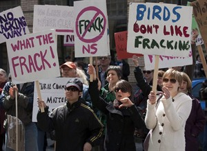 Protesters gather outside the Nova Scotia legislature in Halifax to show their opposition to the use of hydraulic fracturing or fracking, on Friday, April 22, 2011. The man who pioneered hydraulic fracturing in Nova Scotia says he doesn't expect the province to lift a two-year moratorium on the contentious practice, mainly because the government is afraid of upsetting a vocal but misinformed minority. THE CANADIAN PRESS/Andrew Vaughan