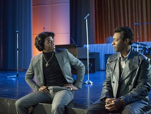 """This image released by Universal Pictures shows Chadwick Boseman, left, and Nelsan Ellis in a scene from """"Get On Up."""" (AP Photo/Universal Pictures, D Stevens)"""