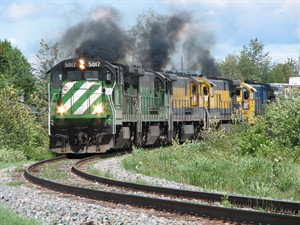 The MMA locomotive that led the train that crashed in Lac-Megantic is pictured going through Nantes, Que. on June 7, 2010. THE CANADIAN PRESS/HO, Andre St-Amant