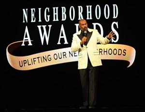 FILE - This Aug. 10, 2013 file photo shows talk show host and comedian Steve Harvey speaking at the 11th Annual Ford Neighborhood Awards in Las Vegas, Nevada. Harvey is hosting the 12th annual national convention in Atlanta for the first time. The four-day event will be held at Philips Arena and the Georgia World Congress Center, kicking off on Thursday, Aug. 7, 2014. The Neighborhood Awards, which recognizes small-town business people, is expected to draw about 150,000 attendees. (Photo by Frank Micelotta/Invision /AP, File)