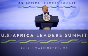 President Barack Obama during his news conference at US African Leaders Summit, Wednesday, Aug. 6, 2014 at the State Department in Washington.Obama and dozens of African leaders opened talks Wednesday on two key issues that threaten to disrupt economic progress on the continent: security and government corruption. (AP Photo/Pablo Martinez Monsivais)