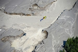 A aerial view shows the damage caused by a tailings pond breach near the town of Likely, B.C. Tuesday, August, 5, 2014. The pond which stores toxic waste from the Mount Polley Mine had its dam break on Monday spilling its contents into the Hazeltine Creek causing a wide water-use ban in the area. THE CANADIAN PRESS/Jonathan Hayward