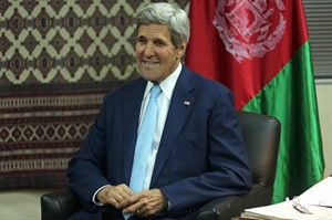 U.S. Secretary of State John Kerry listens during a meeting with Afghanistan's presidential candidate Abdullah Abdullah, during a meeting at U.S. embassy in Kabul, Afghanistan, Thursday, Aug. 7, 2014. (AP Photo/Massoud Hossaini, Pool)