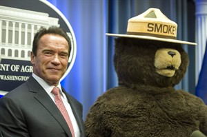 FILE - This Oct. 30, 2013 file photo shows former California Governor Arnold Schwarzenegger posing with Smokey Bear after the U.S. Forest Service named him their third honorary Forest Ranger for his leadership on climate change during a ceremony at the Department of Agriculture.in Washington. Smokey Bear is turning 70 on Saturday Aug. 9, 2014 _ but don't bring any candles to the party, please. As the friendly, huggable bear with the brimmed hat and shovel enters his golden years, he's burning up Twitter, but his message of fire prevention through personal responsibility hasn't changed _ much. (AP Photo/Cliff Owen, file)