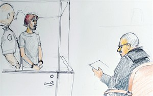 Justin Bourque is shown in a courtroom sketch in Moncton, N.B. on July 3, 2014. THE CANADIAN PRESS/Carol Taylor