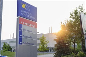 Brampton Civic Hospital is shown in Brampton, Ontario on Friday Aug. 8, 2014. A public health official says a patient at a hospital near Toronto has been isolated as a precautionary measure after showing flu-like symptoms similar to those characteristic of the Ebola virus. THE CANADIAN PRESS/Victor Biro