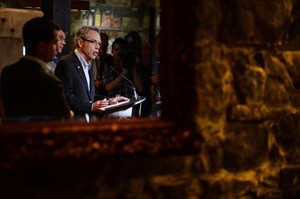 Minister of Finance Joe Oliver speaks to media prior to holding a Summer Policy Retreat in Wakefield, Que., on Tuesday, Aug. 12, 2014. THE CANADIAN PRESS/Sean Kilpatrick