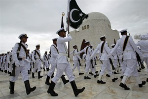 Soldiers of Pakistan Navy march at the mausoleum of Muhammad Ali Jinnah, founder of Pakistan to celebrate the 68th Independence Day in Karachi, Pakistan, Thursday, Aug. 14, 2014. Pakistanis commemorated its independence from British colonial rule in 1947. (AP Photo/Fareed Khan)