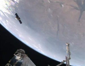 This TV image provided by NASA-TV shows the Orbital Sciences Cygnus resupply cargo vehicle, now full of trash for disposal, released from the International Space Statioin early Friday morning Aug. 15, 2014 near the southwest coast of Africa. (AP Photo/NASA)