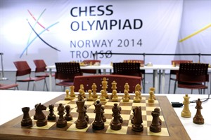 FILE - In this file photo taken August, 1, 2014, showing a chess board at the Chess Olympiad Norway 2014 in Tromsoe, Norway. The major international chess tournament in northern Norway ended Thursday Aug. 14, 2014, on a grim note, with one player dying in the middle of a game and another found dead in a hotel room. Organizers say a 67-year-old member of the Seychelles team collapsed and died during the final round, and another player from Uzbekistan, was found dead in a hotel room later Thursday. (AP Photo / Rune Stoltz Bertinussen, NTB scanpix, FILE)