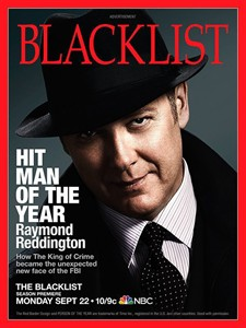 """This advertisement released by NBC shows a mock magazine cover featuring James Spader in character as Raymond Reddington from the NBC series """"The Blacklist."""" Spader, will be featured on 11 mock magazine covers, on billboards and online, to promote the network's top drama before its Sept. 22 return. (AP Photo/NBC)"""